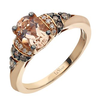 Le Vian 14ct Strawberry Gold Peach Morganite & Diamond Ring - Product number 2366185