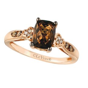 14ct Strawberry Gold Chocolate Quartz & Diamond Ring - Product number 2367955