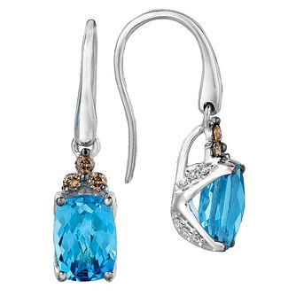14ct Vanilla Gold Ocean Blue Topaz & Diamond Earrings - Product number 2368323