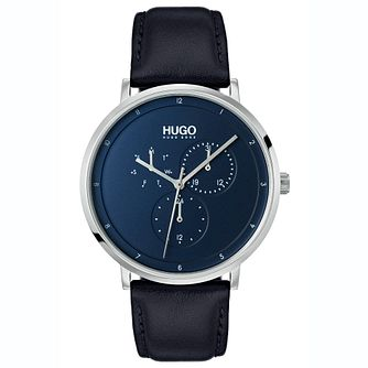 HUGO GUIDE Men's Blue Leather Strap Watch - Product number 2374560