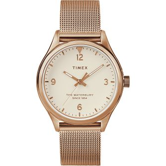 Timex Waterbury Ladies' Rose Gold Tone Mesh Bracelet Watch - Product number 2374773