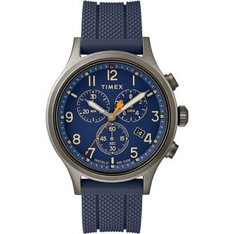 Timex Allied Chronograph Men's Blue Silicone Strap Watch - Product number 2374811