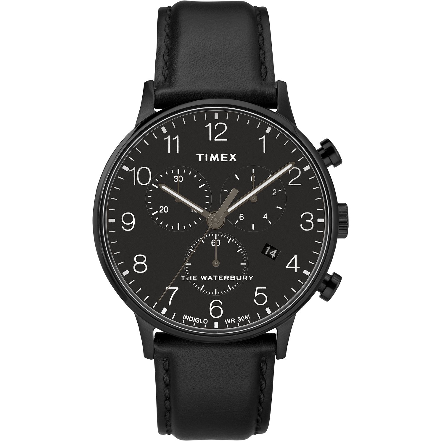 Timex Waterbury Classic Men's Black Leather Strap Watch - Product number 2374854