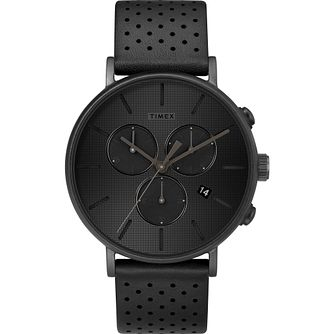 Timex Fairfield Chronograph Men's Black Leather Strap Watch - Product number 2374862