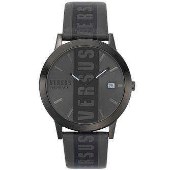 Versus Versace Barbés Grey Logo Leather Strap Watch - Product number 2374994