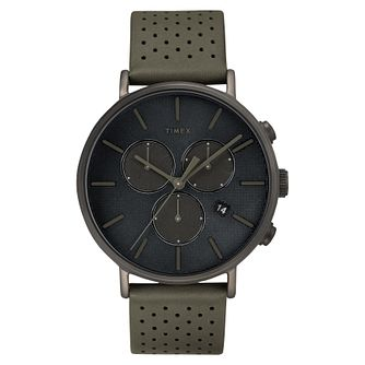 Timex Fairfield Chronograph Men's Grey Leather Strap Watch - Product number 2375311