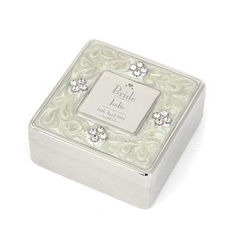 Decorative Wedding Bride Square Diamante Trinket Box - Product number 2392259