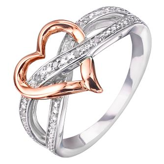 Sterling Silver & 9ct Rose Gold Heart Diamond Eternity Ring - Product number 2392275