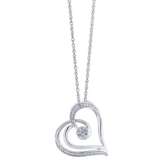 Sterling Silver Heart Design Diamond Pendant - Product number 2393654