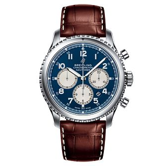 Breitling Aviator 8 B01 Men's Brown Leather Strap Watch - Product number 2394111