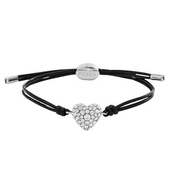 Fossil Ladies' Stainless Steel Stone Set Leather Bracelet - Product number 2395428