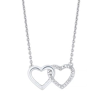 Silver Diamond Double Heart Pendant - Product number 2396521