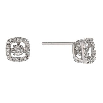 Diamonds in Rhythm silver diamond halo cushion earrings - Product number 2396696