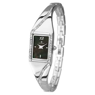 Accurist Ladies' Black Mother Of Pearl Semi-Bangle Watch - Product number 2400073