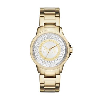 Armani Exchange Ladies' Yellow Gold Plated Stone Set Watch - Product number 2401258