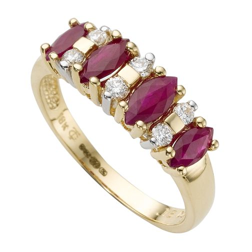 18ct yellow gold diamond & ruby fancy eternity ring - Product number 2402726