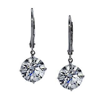 CARAT* LONDON 9ct White Gold Stone Set Round Drop Earrings - Product number 2405539