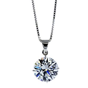 CARAT* LONDON 9ct White Gold Stone Set Round Pendant - Product number 2405563