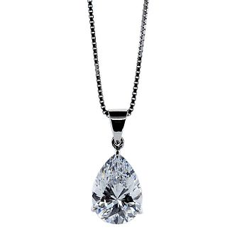 CARAT* LONDON 9ct White Gold Stone Set Pear Shaped Pendant - Product number 2405601