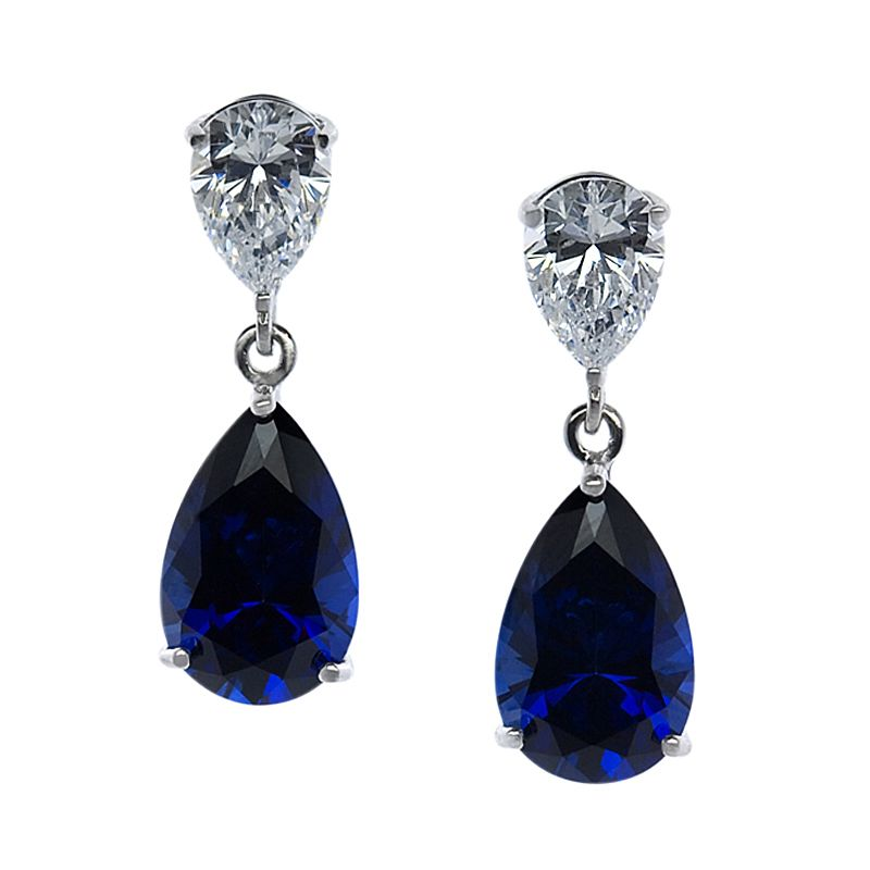 CARAT* LONDON 9ct White Gold Created Sapphire Drop Earrings - Product number 2405792