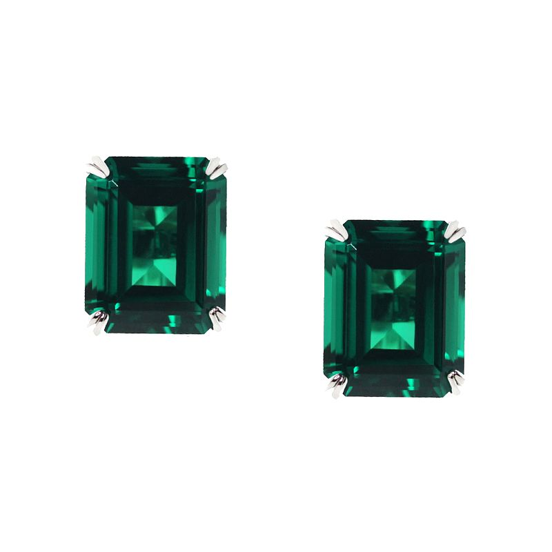 CARAT* LONDON 9ct White Gold Created Emerald Stud Earrings - Product number 2405881