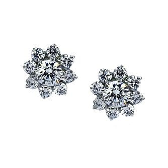 CARAT* LONDON 9ct White Gold Cluster Stud Earrings - Product number 2405962
