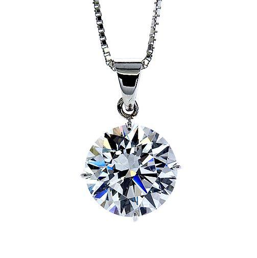 CARAT* LONDON 9ct white gold stone set round pendant - Product number 2406004