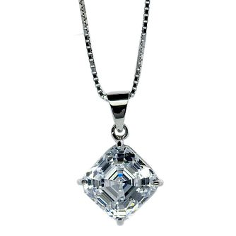 CARAT* LONDON 9ct White Gold Stone Set Princess Cut Pendant - Product number 2406020