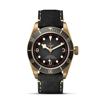 Tudor Black Bay Bronze Men's Grey Leather Strap Watch - Product number 2435551
