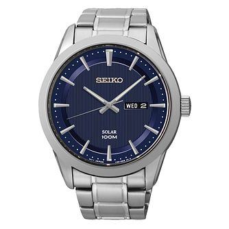 Seiko Men's Solar Navy Dial & Stainless Steel Bracelet Watch - Product number 2436264