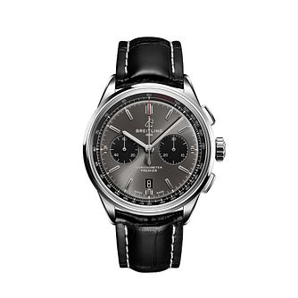 Breitling Premier 01 Men's Black Leather Strap Watch - Product number 2465213