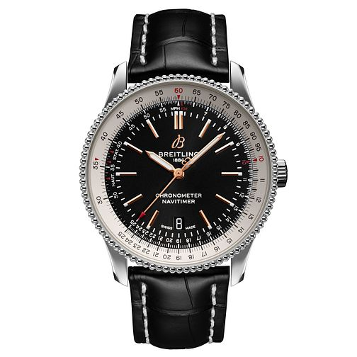 Breitling Navitimer 1 Men's Black Leather Strap Watch - Product number 2465558