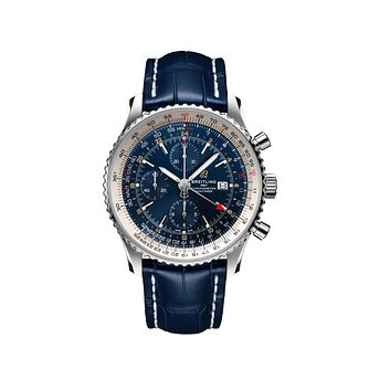 Breitling Navitimer GMT Men's Blue Leather Strap Watch - Product number 2465949