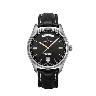Breitling Premier Day & Date Men's Black Leather Strap Watch - Product number 2465957
