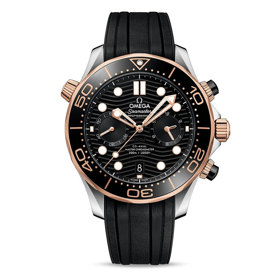 Omega Seamaster Chronograph Men's Black Rubber Strap Watch - Product number 2467453