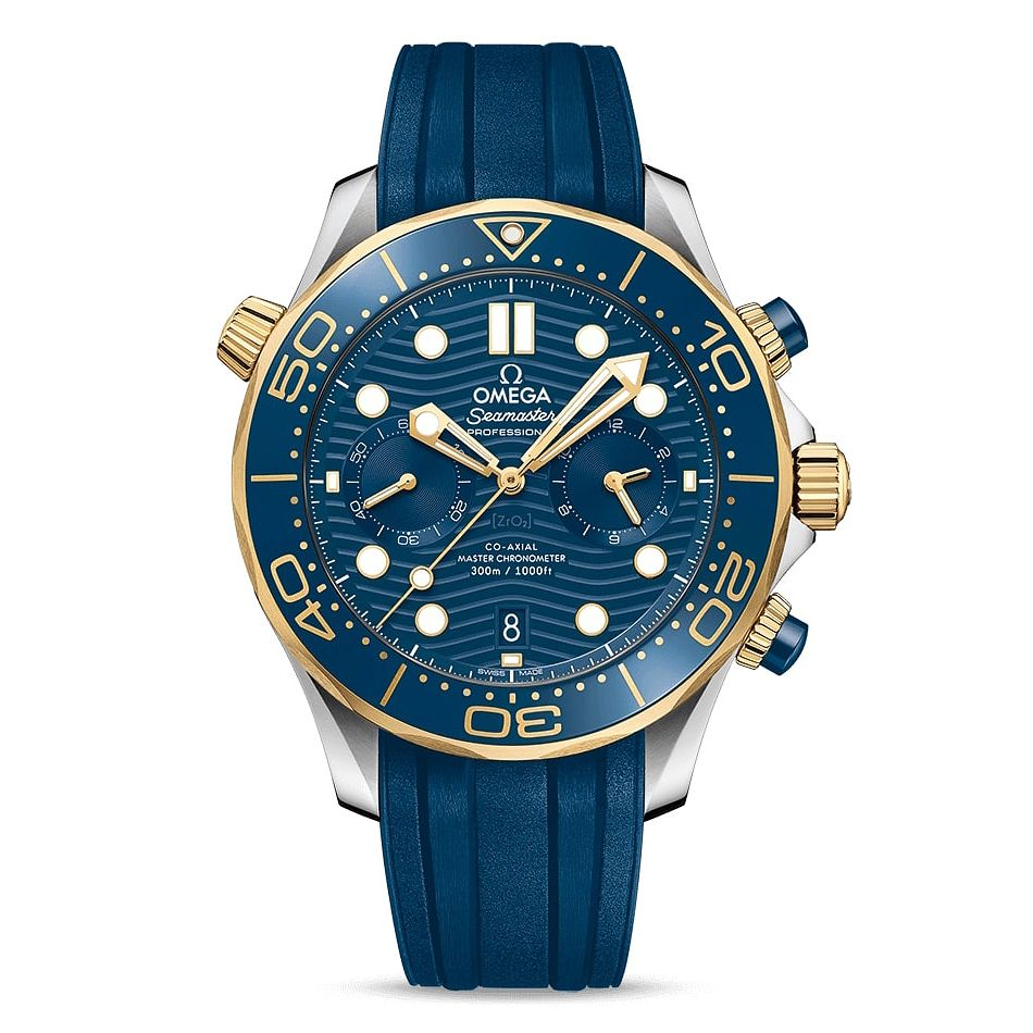 Omega Seamaster Chronograph Men's Blue Rubber Strap Watch - Product number 2467461