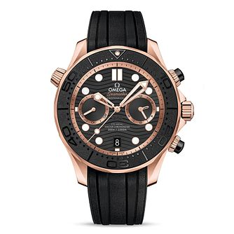 Omega Seamaster 18ct Rose Gold Black Rubber Strap Watch - Product number 2467704