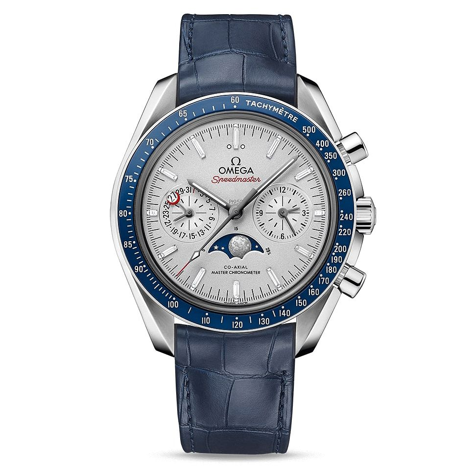 Omega Speedmaster Moonwatch Men's Blue Leather Strap Watch - Product number 2467755
