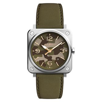 Bell & Ross Green Camo Ladies' Green Leather Strap Watch - Product number 2467879