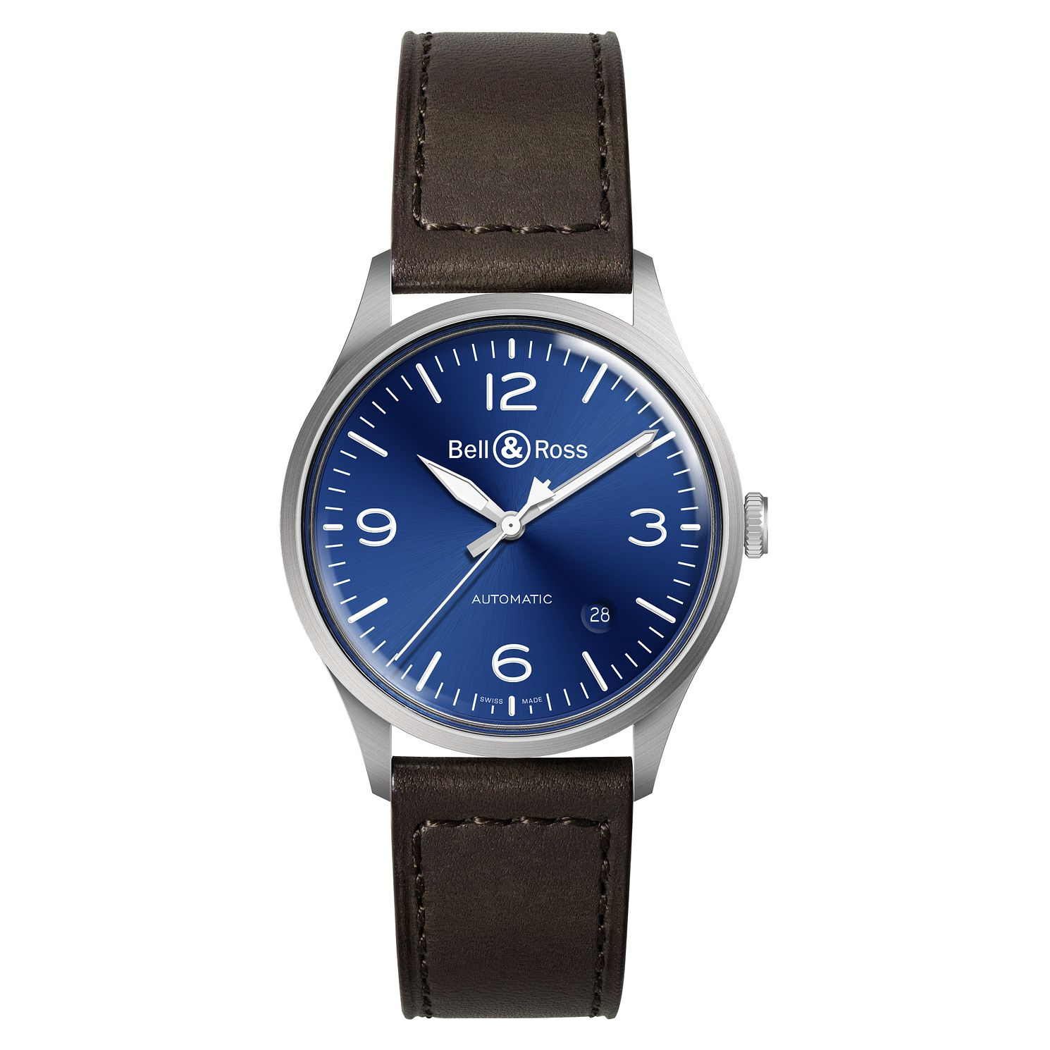 Bell & Ross Blue Steel Brown Leather Strap Watch - Product number 2468301