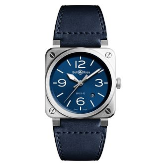 Bell & Ross Blue Steel Men's Blue Leather Strap Watch - Product number 2468492
