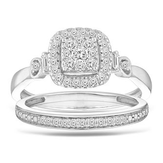 9ct White Gold 1/3ct Diamond Cushion Perfect Fit Bridal Set - Product number 2468840
