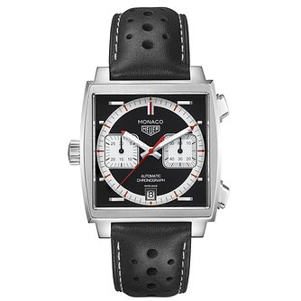 Tag Heuer Monaco Men's Chronograph Black Leather Strap Watch - Product number 2469545