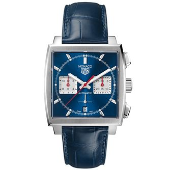 TAG Heuer Monaco Men's Blue Leather Strap Watch - Product number 2469677