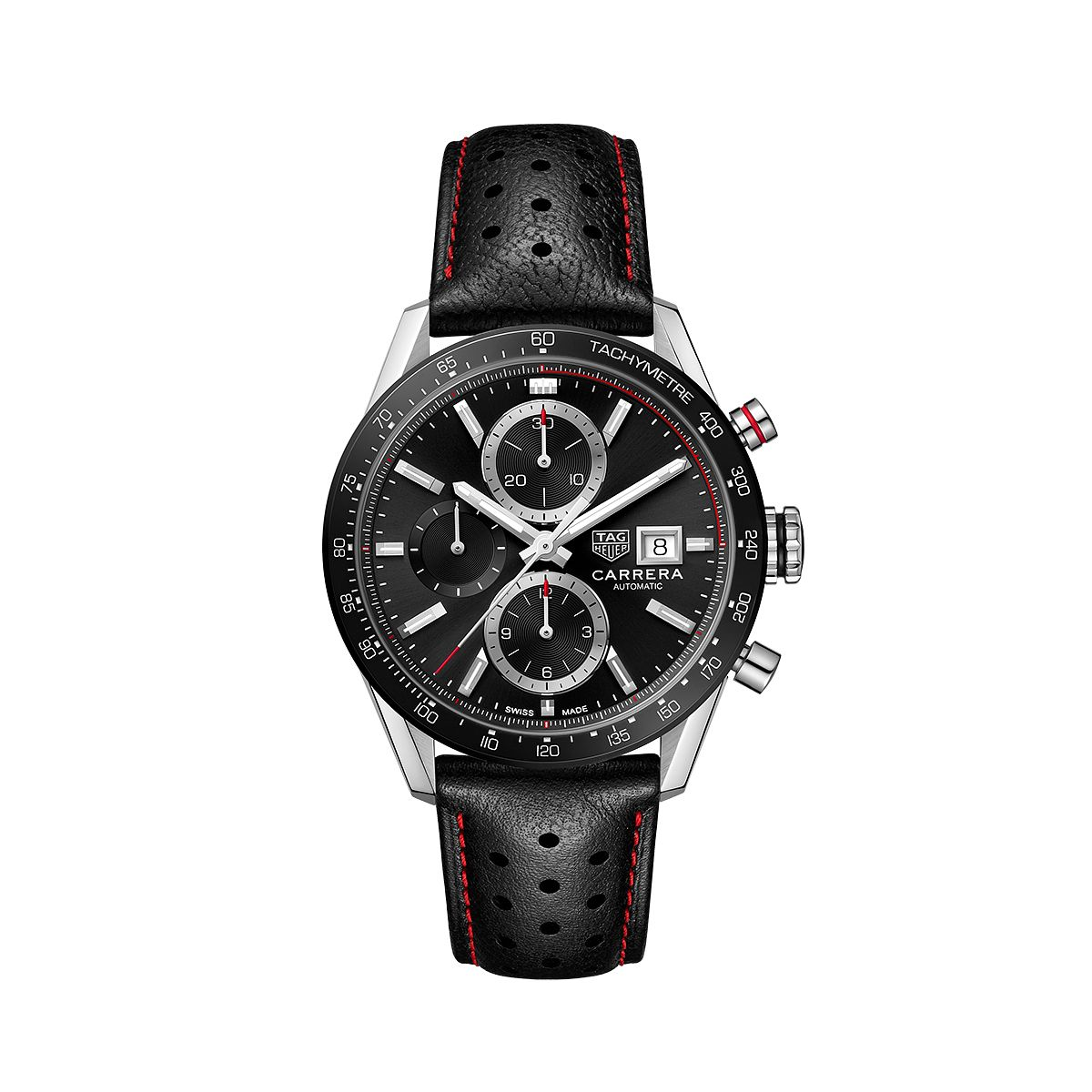 TAG Heuer Carrera Men's Black Leather Strap Watch - Product number 2469693