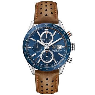 TAG Heuer Carrera Men's Brown Leather Strap Watch - Product number 2469723