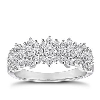 18ct White Gold 1ct Diamond Flower Ring - Product number 2469820