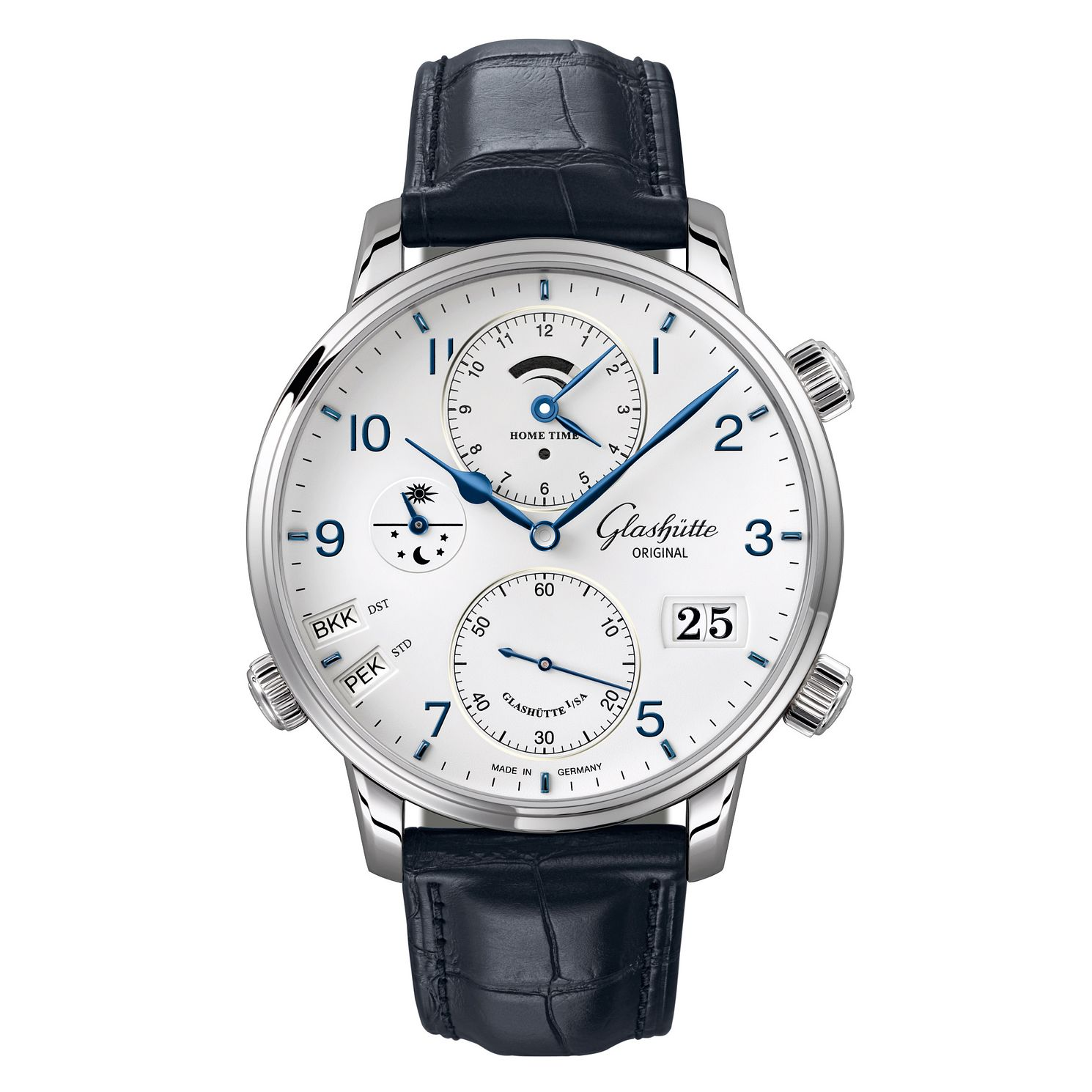 Glashutte Senator Cosmopolite Men's Blue Leather Strap Watch - Product number 2470535
