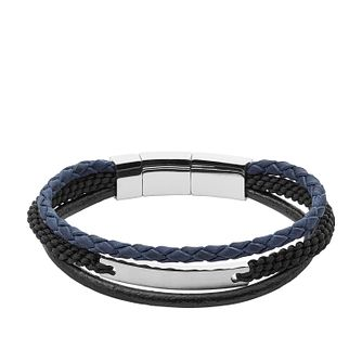 Fossil Men's Multi Colour Leather & Stainless Steel Bracelet - Product number 2471361