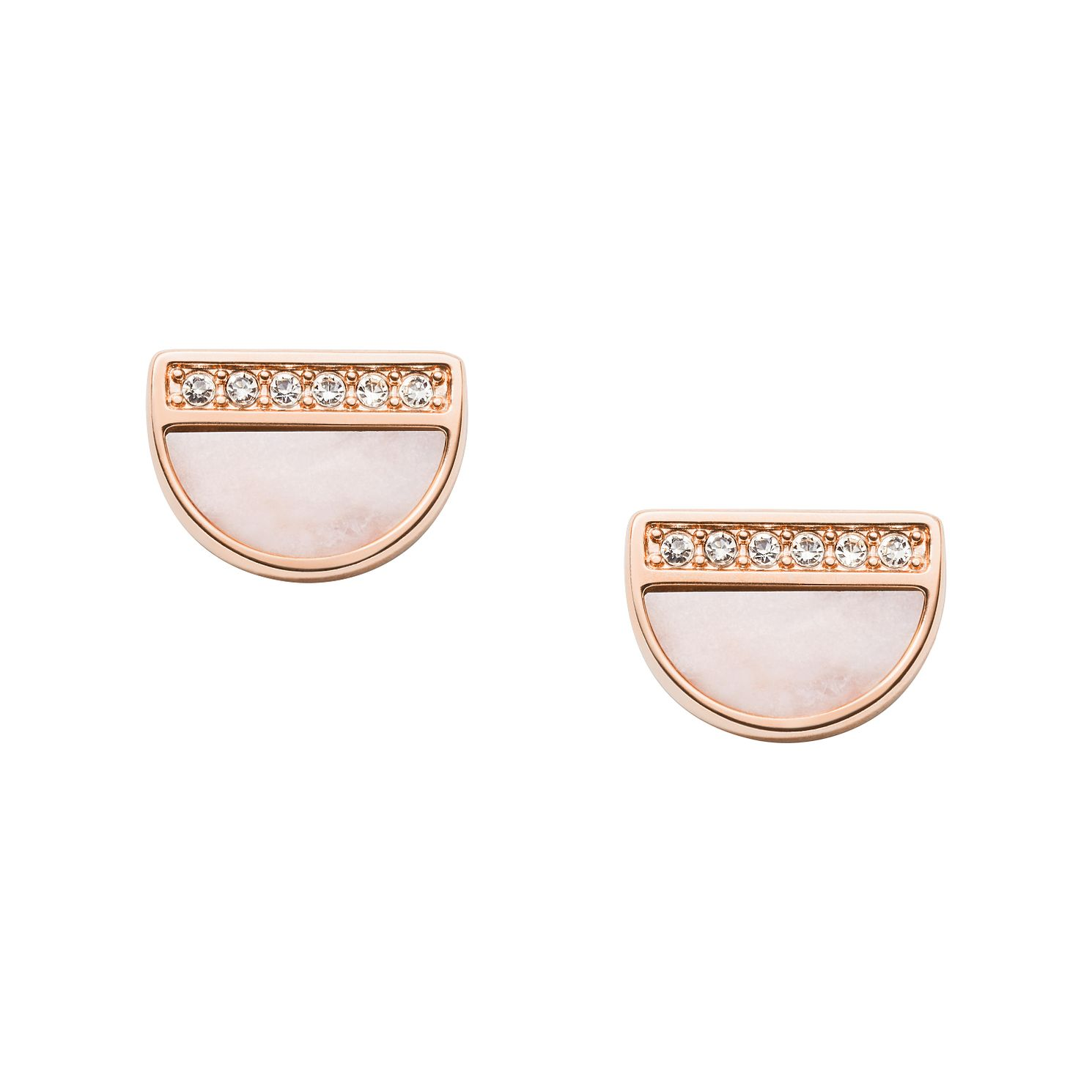 Fossil Rose Gold Tone Cubic Zirconia Duo Half Moon Earrings - Product number 2471388
